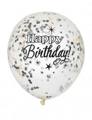 Balloner 6 stk. konfetti Happy Birthday sølv og guld