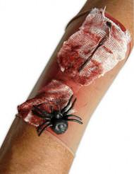 Blodigt ærme med edderkop til Halloween