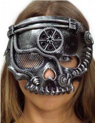 Skelet steampunk maske sølv voksen