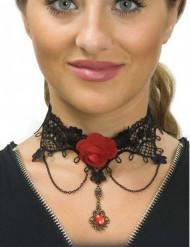 Blonde halsbånd med rød rose