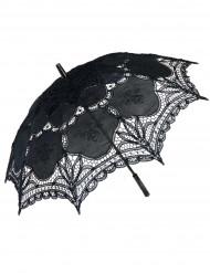 luksus parasol med blonder - sort