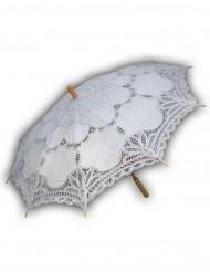 Luksus parasol med blonder  hvid