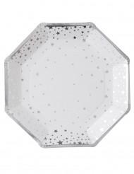 8 Paptallerkener Hvid og sølv 23 cm