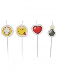 4 Mini stearinlys Smiley Emoticons™