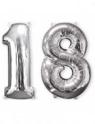 Ballon Aluminium Sølv tal 18