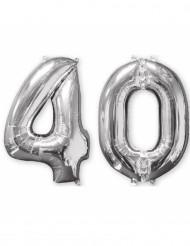 Pakke med 2 aluminiumsballoner 66 cm tal sølv 40