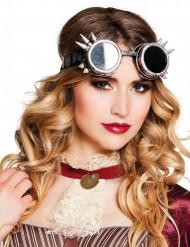 Briller cyberpunk sølvfarvede til voksne Steampunk