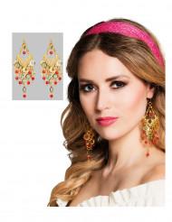 Ørenringe danserinde orientalsk forgyldte og røde til kvinder