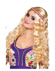 Paryk hippie blond bølget med pandebånd til kvinder