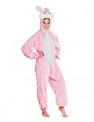 Kostume i plys lyserød og hvid kanin til teenagere