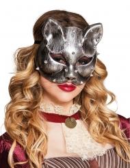 Halvmaske kat sølv voksne Steampunk