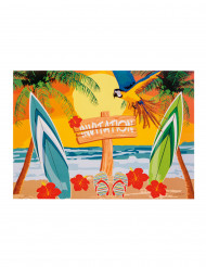 6 invitationskort Beach party 10 x 15