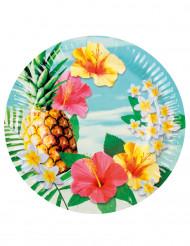 6 paptallerkener Hawaii Party 23 cm