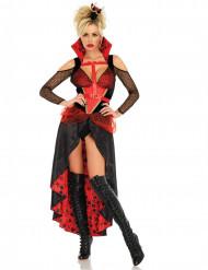 Sort og rød hjerterdame kostume til kvinder