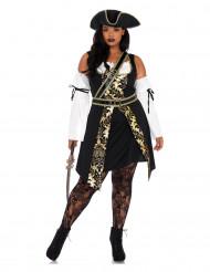 Guldtyven - Sort og guld piratkostume til kvinder