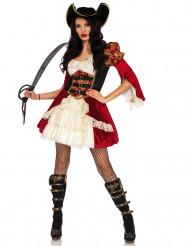 Kostume sexet rød pirat til kvinder