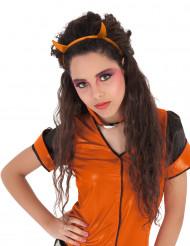 Orange djævlehorm med glimmer - Hårbånd til piger
