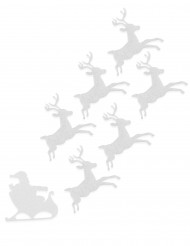 6 Rensdyr i filt hvide 16 cm Jul