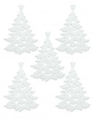 5 hvide juletræsdekorationer