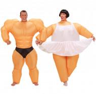 Parkostume sjov ballerina og bodybuilder oppustelig til voksne