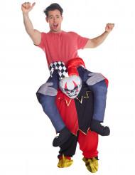 Kostume mand på ryggen af harlekin skelet til voksne til Halloween