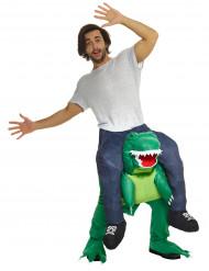 Kostume mand på ryggen af en dinosaur