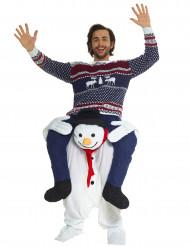 Kostume mand på ryggen af snemand til voksne