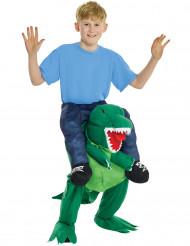 Kostume menneske på ryggen af en dinosaur til børn