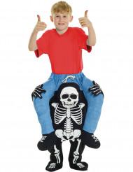 Kostume barn på ryggen af et skelet til børn Halloween