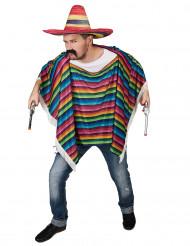 Poncho mexicansk multifarvet med frynser til voksne