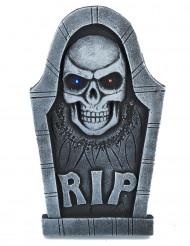 Dekoration gravsten med dødningehoved lysende øjne