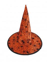 Heksehat orange med sorte edderkoppespind til børn