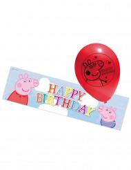 5 latexballoner Gurli Gris og et aluminiumsbanner