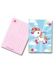 Invitationskort 8 stk. unicorn