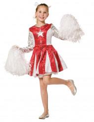 Kostume cheerleader rød og sølv til piger