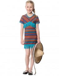 Kostume mexicanerkjole i tyrkis til piger