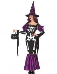 Kostume lilla skeletheks til kvinder Halloween