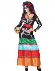 Kostume farverig mexicaner til kvinder Dia de los Muertos