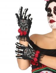 Korte skelet handsker - Dia de los Muertos