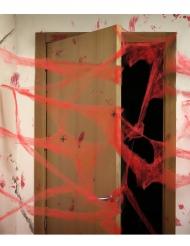 Rødt edderkoppespind - Halloween dekoration