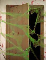 Dekoration grøn edderkoppespind med edderkopper 20 gr Halloween