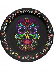 Tallerkener 6 stk. farvet skelet Dia de los Muertos