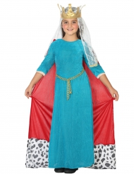 Blå middelalder dronningekostume til piger