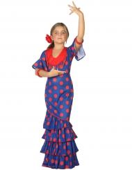 Kostume flamenco blå og rød til piger