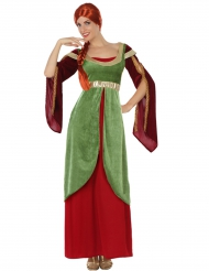 Kostume kvinde middelalder rød og grøn til kvinder