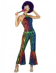 Kostume disco multifarvet zebrastribet til kvinder