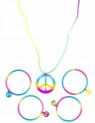 Halskæde og armbånd multifarvet hippie til voksne