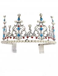 Tiara prinsesse i metallisk sølv med perler til voksne