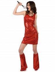 Kostume disco rød med pailletter til kvinder