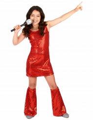 Kostume disco rød med pailletter til piger